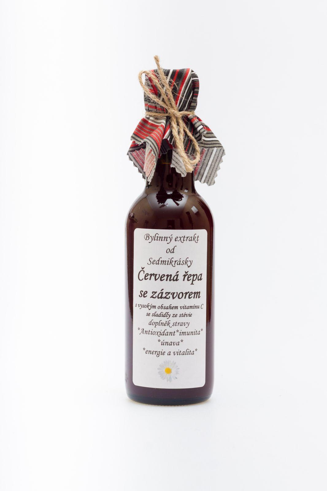 Sedmikráska ekstrakt ziołowy Burak ćwikłowy z imbirem 250ml antioxidant, imunita, únava a vyčerpání, energie a vitalita, vstřebávání železa Rodinná farma Sedmikráska