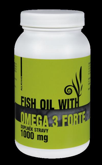 Fish oil with Omega-3 Forte 1000mg 90 kapsułki ALL GREEN