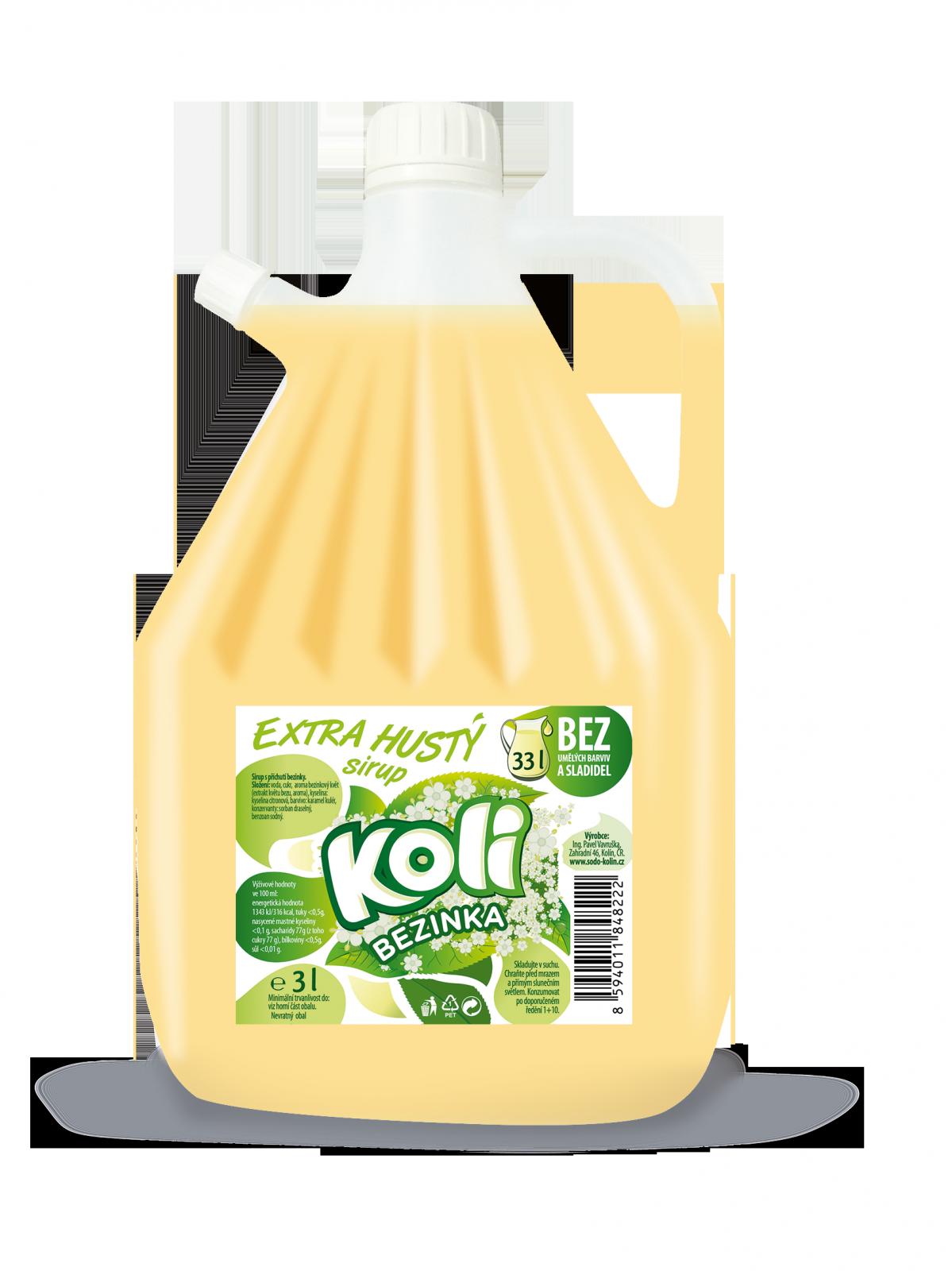 Koli syrop EXTRA gęsty 3lt bezinka - orzeźwiająca lemoniada o smaku białego bzu. Sodovkárna Kolín