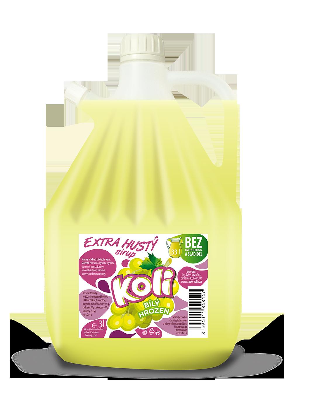 Koli syrop EXTRA gęsty 3lt białe winogrona - orzeźwiająca lemoniada o smaku białych winogron. Sodovkárna Kolín