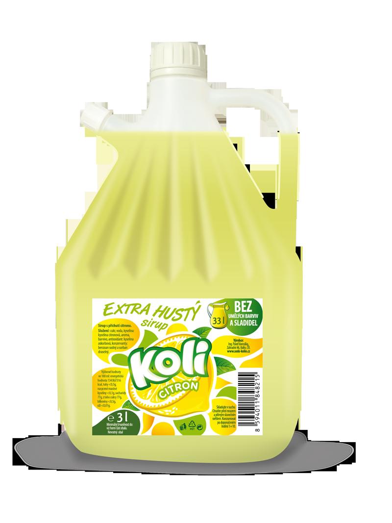 Koli syrop EXTRA gęsty 3lt cytryna - orzeźwiająca lemoniada o smaku cytrynowym.. Sodovkárna Kolín