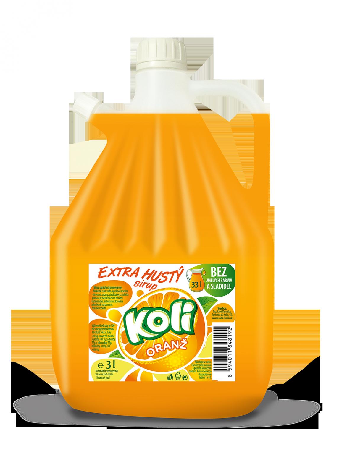 Koli syrop EXTRA gęsty 3lt pomarańczowy - limonáda s osviežujúcou ovocnou chuťou. Sodovkárna Kolín