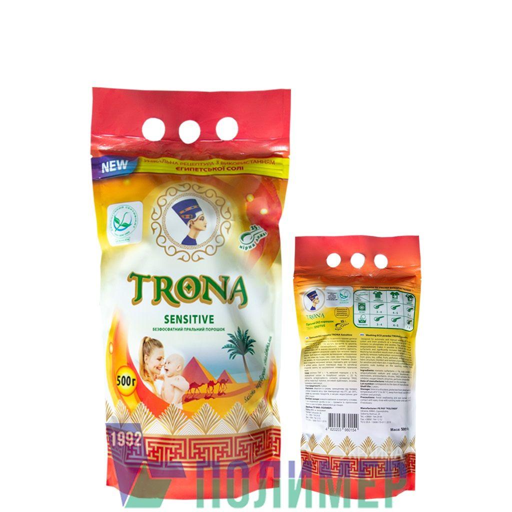 Proszek do prania Trona Sensitive 0,5kg - uniwersalny bezfosforanowy proszek do prania odzieży dziecięcej i delikatnej bielizny. Polymer Ukrajina