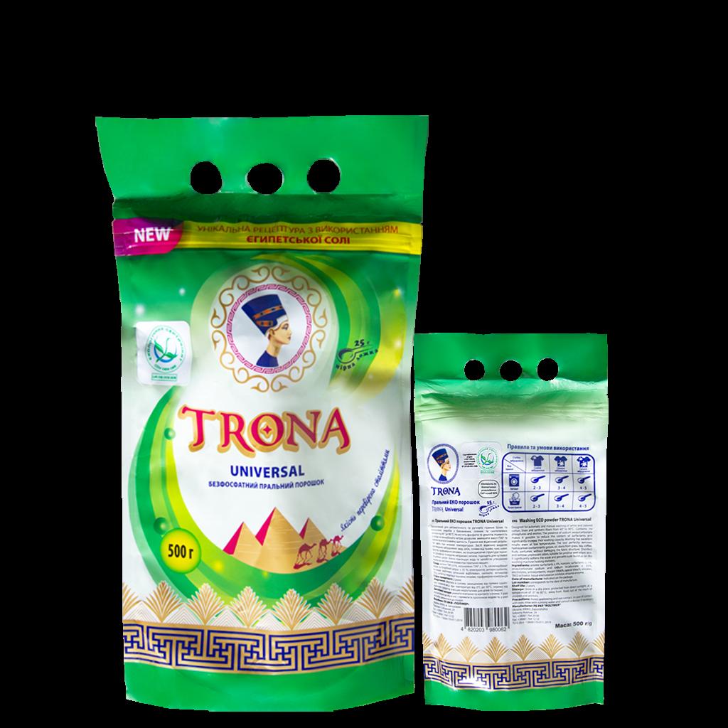 Proszek do prania Trona Universal 0,5kg - bezfosforanowy proszek do prania białych i kolorowych tkanin Polymer Ukrajina