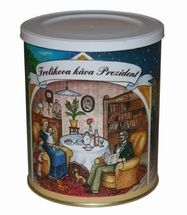 """Frolík's Coffee President 250g mielona - Jakość polega na tym, że używa się tu wyłącznie kaw z Afryki, dlatego produkt ten nazywany jest """"afrykańskim złotem"""". Smak tej kawy docenią zwłaszcza prawdziwi koneserzy kawy. Jan Frolík - Pražírna kávy"""