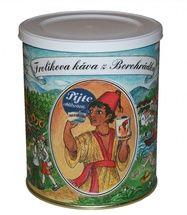 Kawa Frolík z Borohrádek 250g mielona - Ta mieszanka, z większą zawartością Robusty niż Arabica 60:40, wykorzystuje najlepiej ocenianą robustę na świecie. Jan Frolík - Pražírna kávy